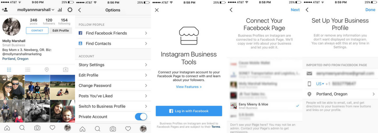 how to switch to an instagram business account