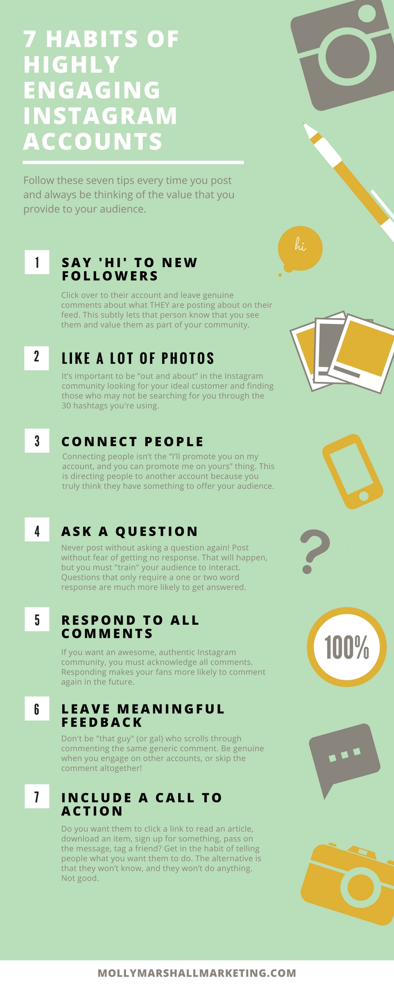 There are 7 habits you should master if you really want to grow your Instagram engagement. Click to read or pin for later!