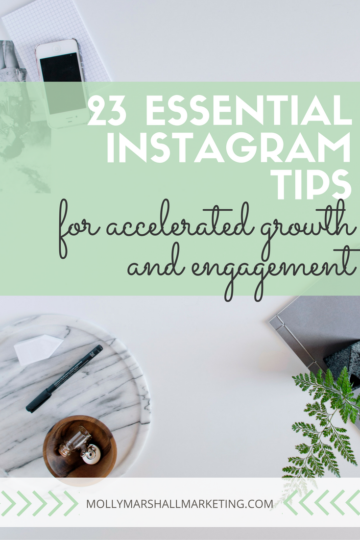 Instagram is the king of engagement and one of the best place for businesses to be online! Whether you're just getting started or you're a pro, these 23 essential Instagram Tips will accelerate your growth and engagement! Click to read and download my Instagram algorithm checklist or pin for later!