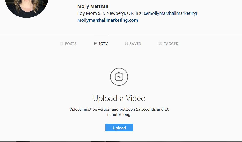 Uploading a video to IGTV on desktop