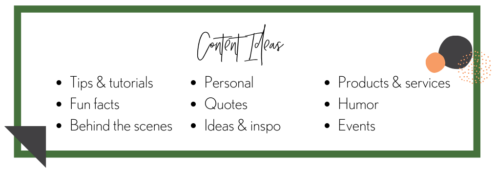 content ideas for monthly social media
