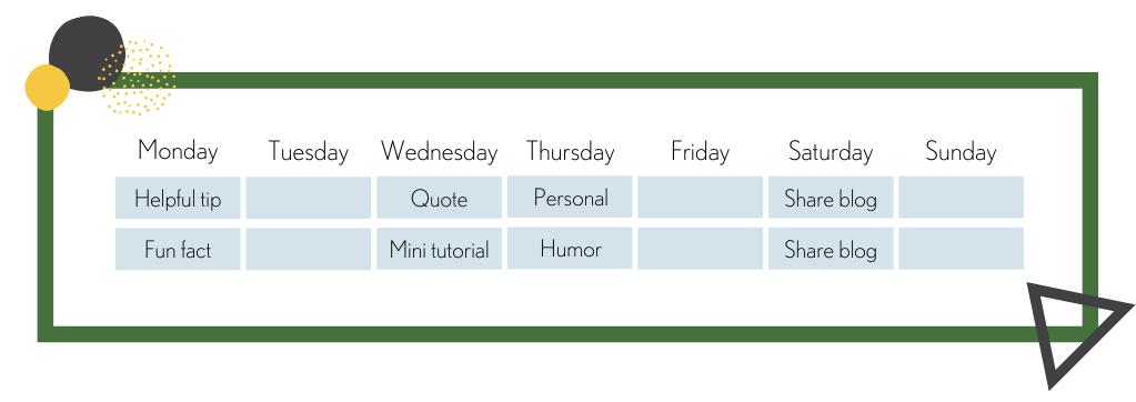 content recipe on calendar
